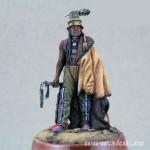 Воин хидатсов в боевой раскраске. 19 век