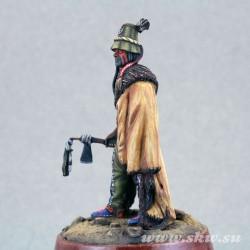 Воин хидатсов в боейовй раскраске. 19 век
